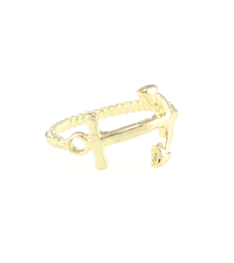 Anchor & Twisted Rope Ring in Gold