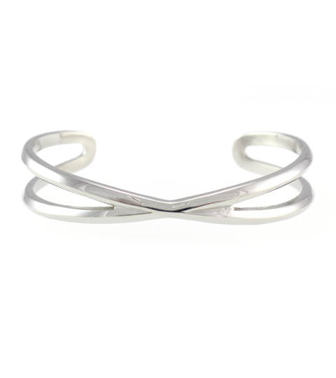 Criss Cross Bangle 14KP in Silver