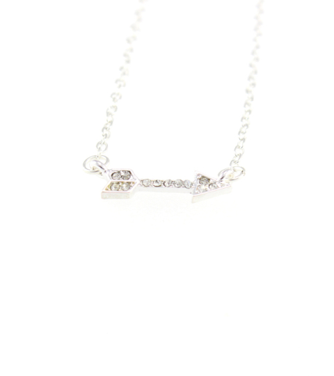 Crystal Arrow Necklace in Rose Gold & Silver