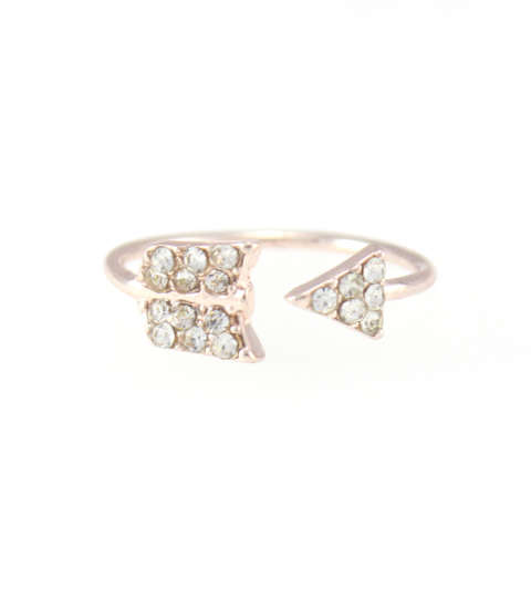 Crystal Wrap Around Arrow Ring in Rose Gold