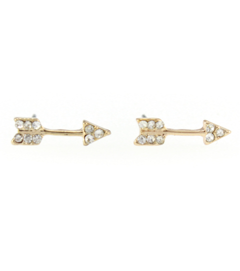Crystal Arrow Stud Earrings in Gold