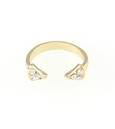 Double Crystal Spike Ring in Gold