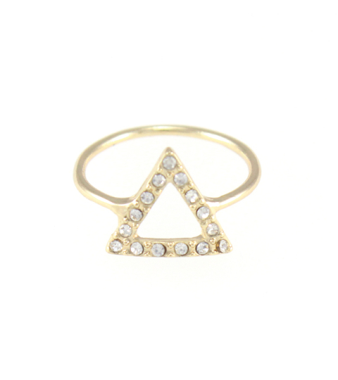 Crystal Triangle Ring in Gold