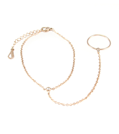 Chain Ring Bracelet 14KP in Rose Gold