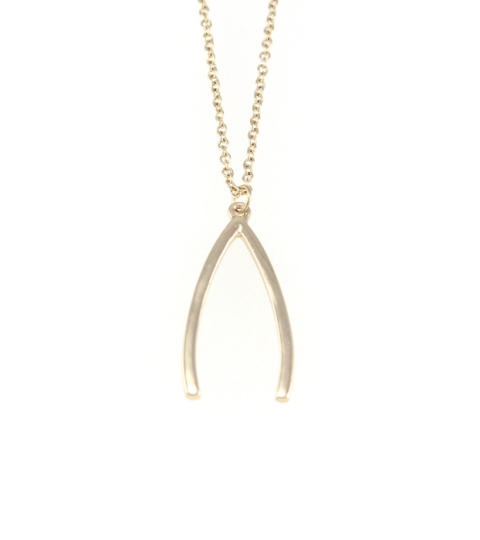 Long Gold Wishbone Necklace