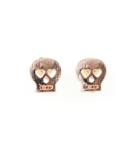 Mini Skull Stud Earrings in Rose Gold