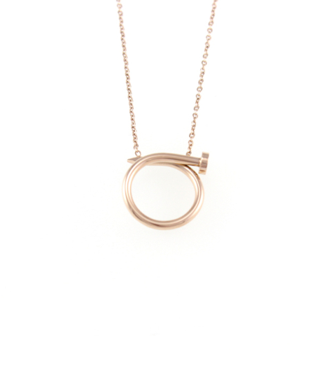 Nail Pendant Necklace Rose Gold 14KP