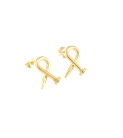 Nail Stud Earrings Gold 14KP