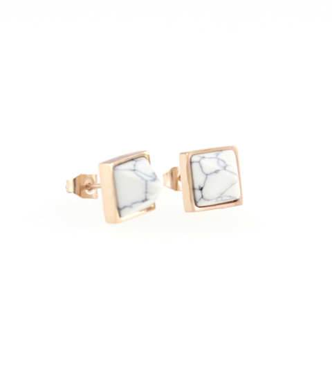 Marble Pyramid Stud Earrings in Rose Gold14KP
