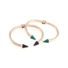 Marble Spike Bangle 14KP in Rose Gold & Green & Black