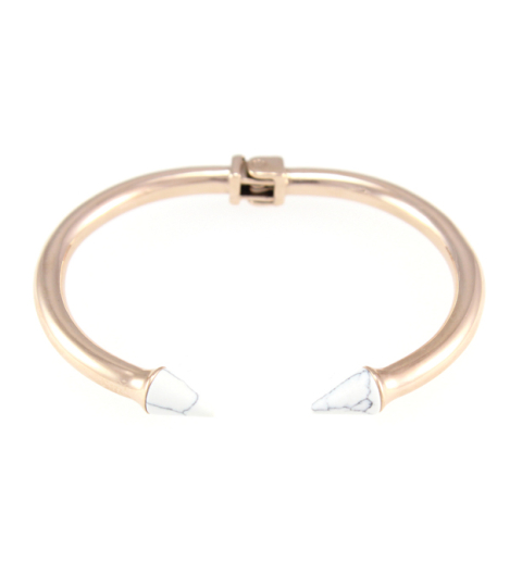Marble Spike Bangle 14KP in Rose Gold & White