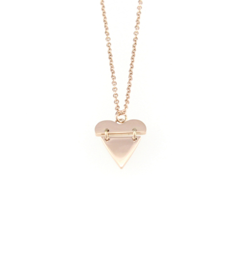 Split Heart Pendant Necklace 14KP