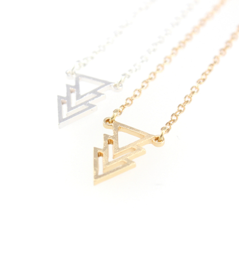 Triple-Tri Arrow Necklace in Gold & SIlver