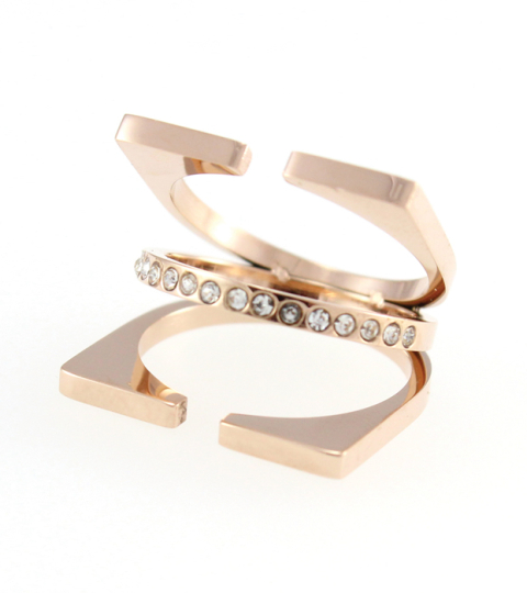 Triple Layer Ring 14KP in Rose Gold