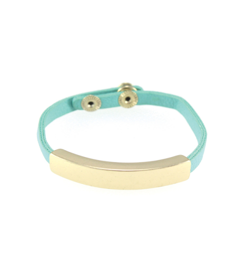 Turquoise Leather & Gold Bar Cuff