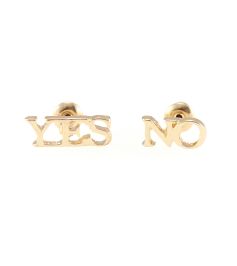 Yes-No Stud Earrings in Gold